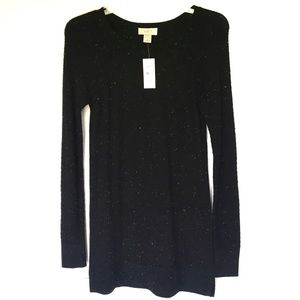 LOFT Black White Speckle Dot Knit Tunic Sweater XS